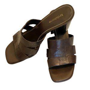 Liz Claiborne square toe heeled brown sandals